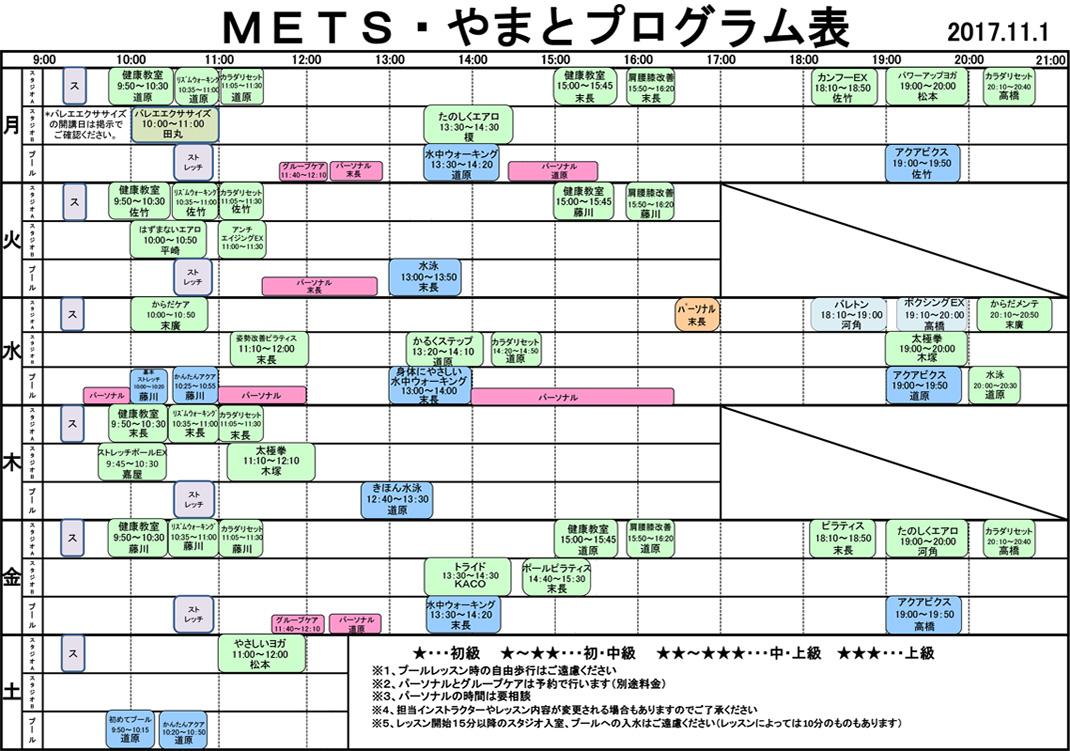 METS・やまとプログラム表
